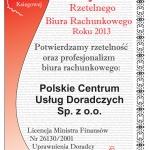 PCUD uzyskało w 2013r Certyfikat Rzetelnego Biura Rachunkowego