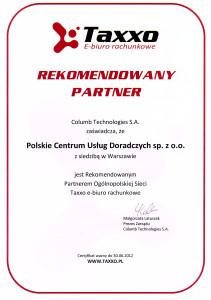 Rekonedacja taxxo e-biuro rachunkowe dla firmy Polskie Centrum Usług Doradczych